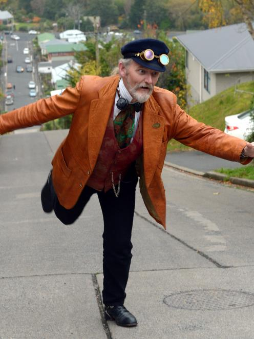 Iain Clark revisits the scene of his Baldwin St, Dunedin, roller-skating feat of 26 years ago.