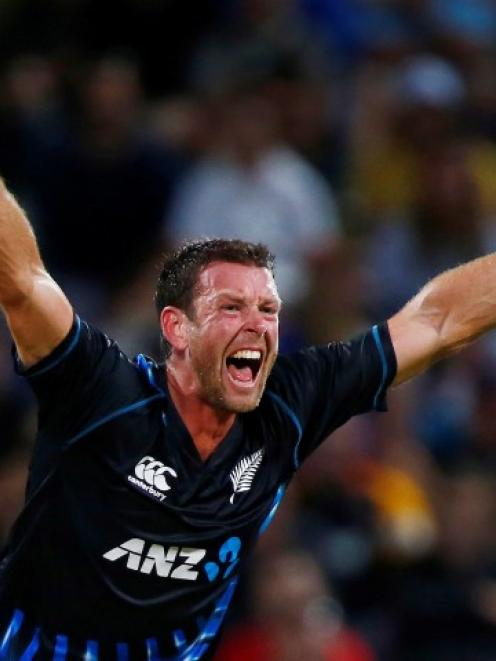 Ian Butler makes an appeal for the wicket of England's Samit Patel during their T20 international...