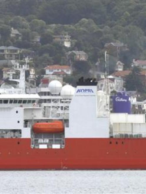 Icebreaker <i>Araon</i> during its visit to Dunedin in February. <i>Aurora Australis</i> is due...