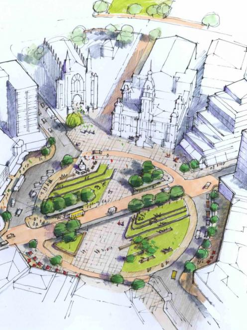 Ideas like this 2011 concept for the redevelopment of Dunedin's Octagon were up for debate again...