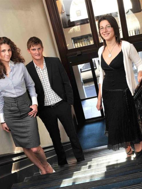 International Business Academy students Andrea Urbankova, of the Czech Republic, Morten Sorensen,...