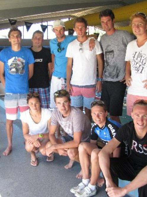 International triathletes (New Zealanders unless otherwise stated) gather in Wanaka: rear (from...