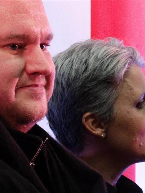Internet Party founder Kim Dotcom and leader Laila Harre at Queenstown's Events Centre last night...