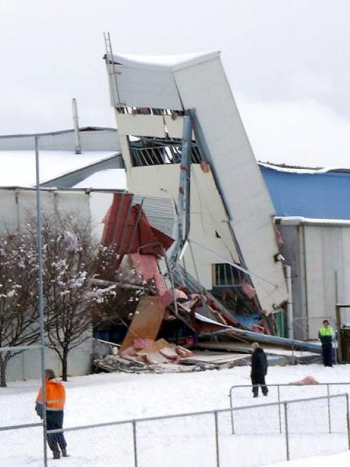 Invercargill's Stadium Southland lies in ruins after the roof collapsed under the weight of snow...