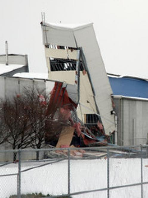 Stadium Southland collapses under the pressure of snowfall, Invercargill, New Zealand, Saturday,...