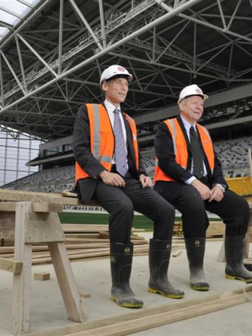 IRB chief executive Mike Miller and deputy chairman Bill Beaumont take in  the Forsyth Barr...