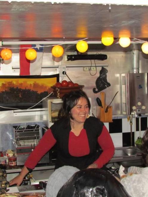 Isabel Garrido opened her food trailer for friends on Saturday night before today's opening....