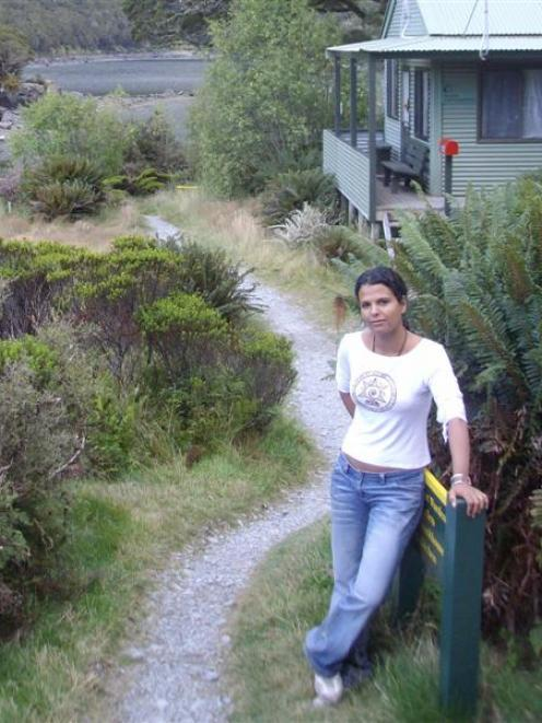 Israeli tourist Liat Okin outside the MacKenzie Hut on the Routeburn Track on the morning before...