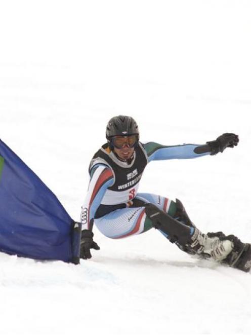Italian Edwin Coratti triumphs in testing conditions to win the parallel giant slalom...
