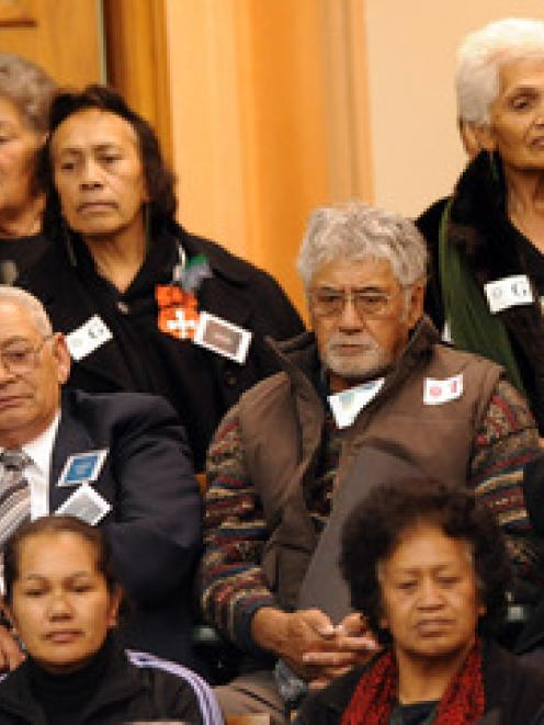 Supporters listen to the first reading of the Central North Island Forests Collective Settlement...