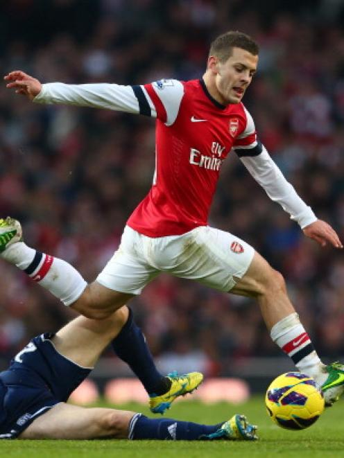 Jack Wilshere in action for Arsenal against West Bromwich ...