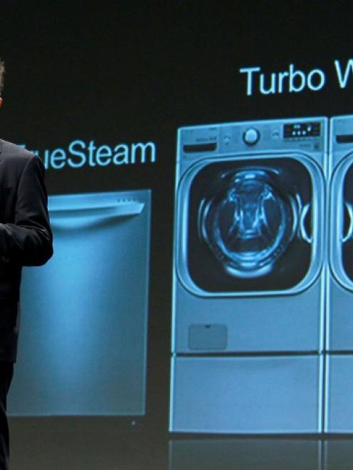 James Fishler, Senior Vice President of Marketing for LG Electronics USA, speaks at their news...