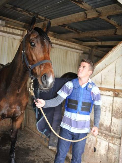 Jamie Richards at Wingatui yesterday with Our Santana, who finished fourth at Washdyke on Tuesday...