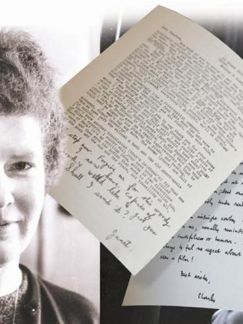 Janet Frame (left) and Charles Brasch with examples of their letters. Graphic by Alistair Craig.