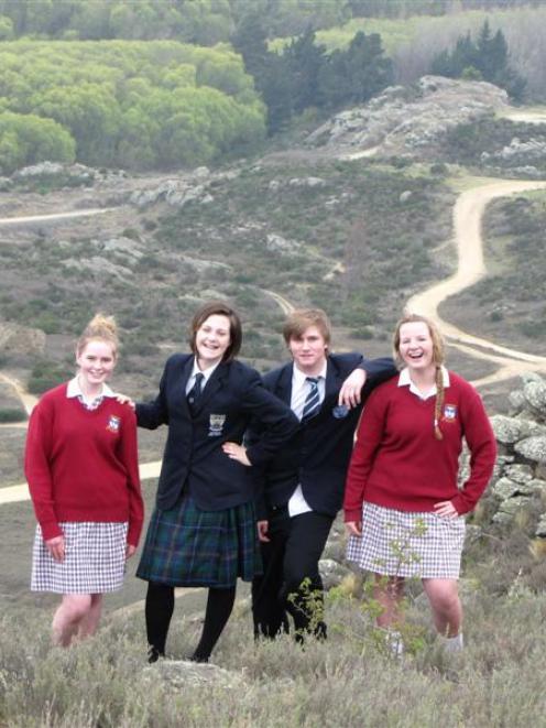 Janie Shaw (left, 15), of Dunstan High School, Ruby Parker (15), of Roxburgh Area School, Shea...