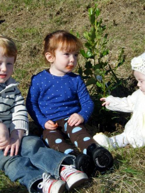 Jaxon Shanks (2), Addie Cope (2) and Bayleigh Shanks (8 months) look at the tree that was planted...
