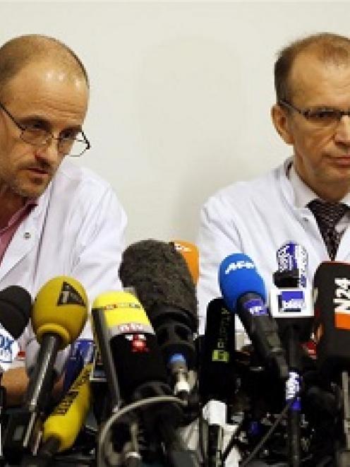 Jean-Francois Payen, head anaesthetician at the CHU hospital, and Emmanuel Gay, head of...