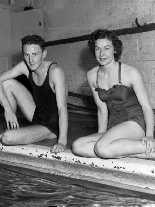 Jean Stewart (right) and fellow Olympic swimmer Lincoln Hurring, her future husband, in Dunedin...