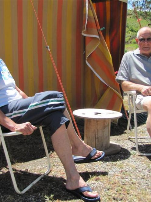 Jenny and Ron Paterson, of Dunedin, enjoy some quiet time at the Fraser Domain camp site in late...