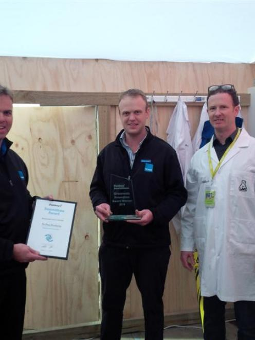 Jeremy Blampied (left) and Patrick Blampied, from Te Pari Products, with judge Timothy Allan,...