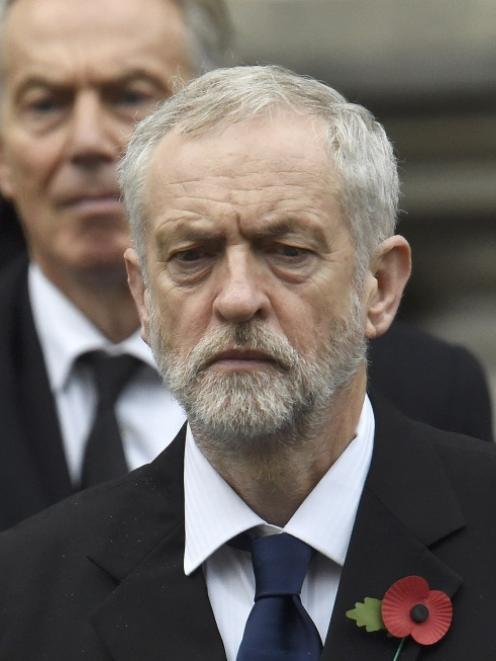 Jeremy Corbyn (front), leader of Britain's opposition Labour Party, with former UK prime minister...