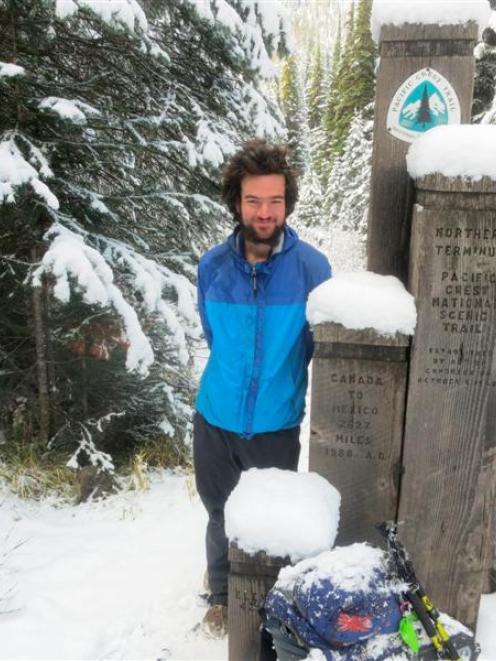 Jeremy Star after completing his 4265km walk from Mexico to Canada this week, six months after...