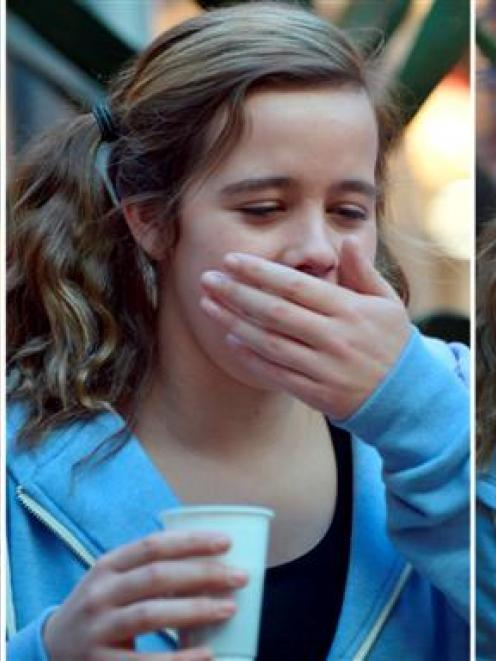Jess Chisholm (14), of Dunedin, sips deer pizzle consomme at an offal food science demonstration...