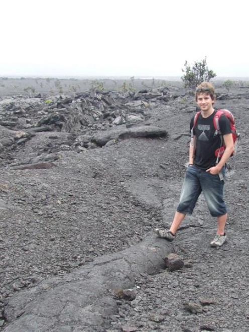 Jesse Robertson on the lava flow where he became engaged.