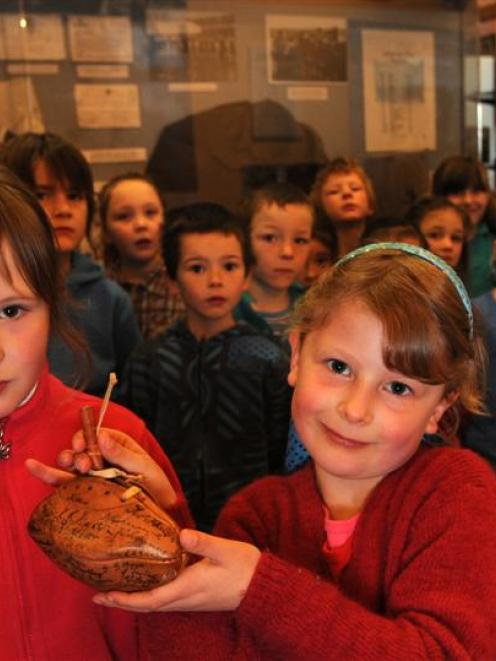 Jessica Smith (6, left) and Aria Taylor (6) from Balaclava School show off the newest addition to...