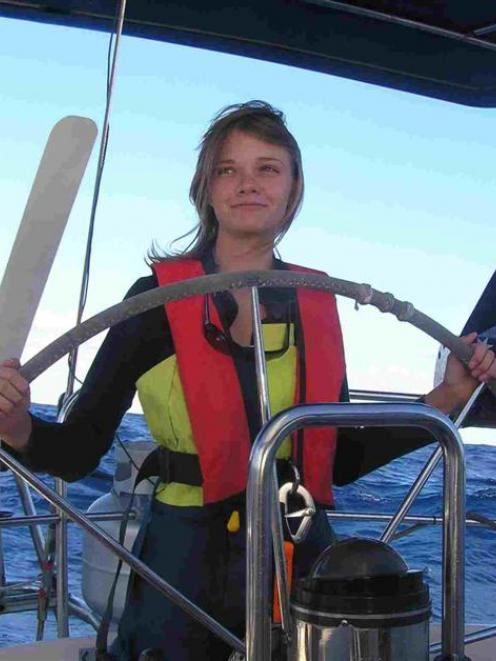 Jessica Watson at sea last year. Photo supplied.