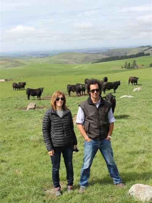 Jimena Popelka and Francisco Arrosa view cattle at Neil and Rose Sanderson's Fossil Creek stud in...