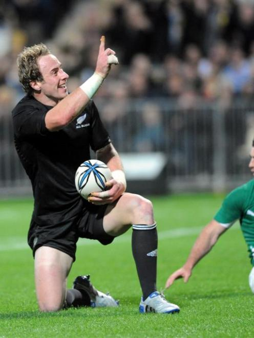 Jimmy Cowan celebrates a try against Ireland at Yarrow Stadium, New Plymouth. Credit:NZPA / Ross...