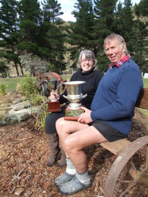 Jo and Barry Todd, with their spoils from the New Zealand Lavender Growers Association's awards,...