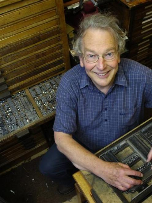 Printer Dr John Holmes shows some of the huge collection of letters at his Dunedin workshop. His...