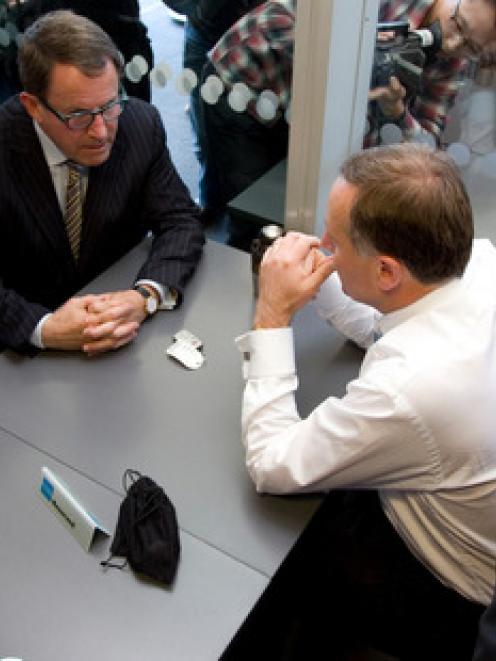 "John Key and John Banks during their ""teapot"" meeting. Photo: NZ Herald"
