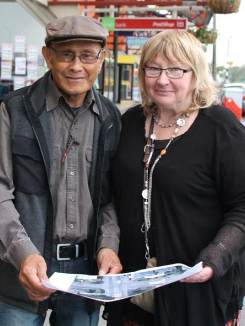 Johnny Penisula and Robyn Hickman study the map showing the South Invercargill location for the...