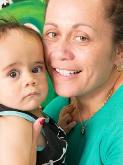 Joleen Pirini with baby son Noah Pirini-Stowers, who has just one vein to his heart working....