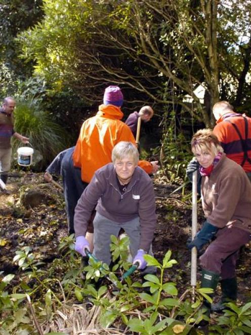 Joolz Carter-Moore and Jacqui Pittendreigh work with church volunteers to clear the overgrown...