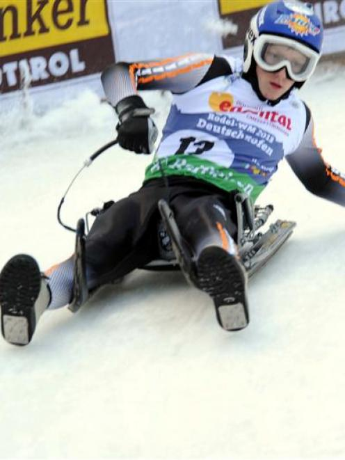 Josh Fogo, of Naseby, in action during the natural track luge world championships in Italy over...