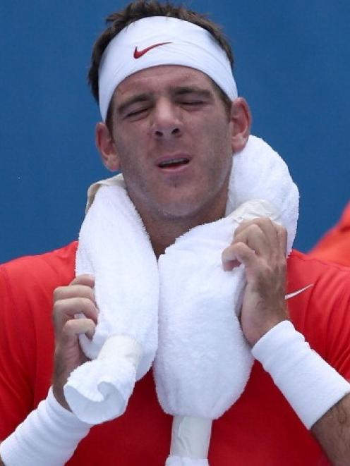Juan Martn Del Potro of Argentina at the Australian Open in Melbourne. (Photo by Michael Dodge...