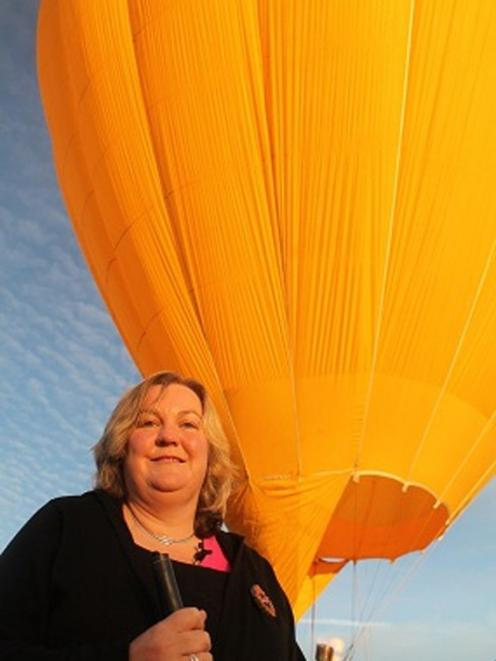 Julie Woods returns safely to earth after her balloon flight. Supplied photo