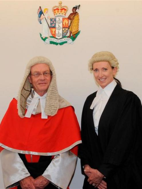Justice Graham Panckhurst has a word with Moira Anderson, after her admission to the Bar yesterday.