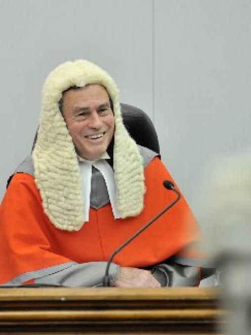 Justice Lester Chisholm at his final sitting of the High Court at Dunedin on Friday. Photo by...
