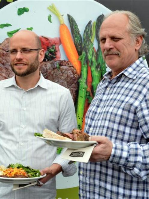 Justin and Frank Marx enjoy lunch during a beef producer day at Silver Fern Farms' Finegand plant...