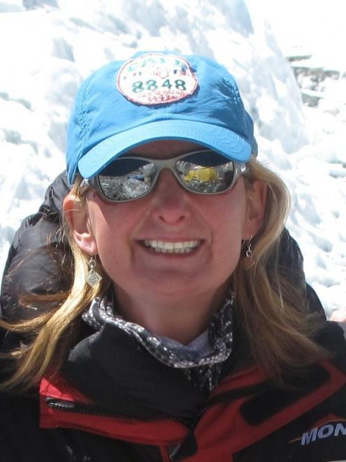 K2 conqueror Christine Burke, pictured near the 8516m Mt Lhotse, on the Nepal-Tibet border, last...