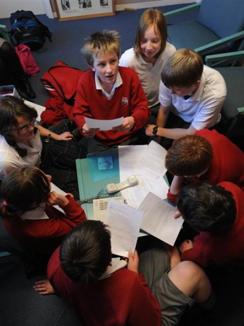 Kaikorai Valley College pupil Luke Biggs (13) asks a question during an audio-conference with...