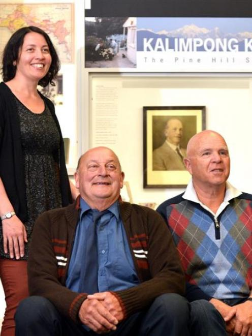 Kalimpong researcher Jane McCabe, her father Don McCabe (centre) and Gilbert Hawkins in front of...