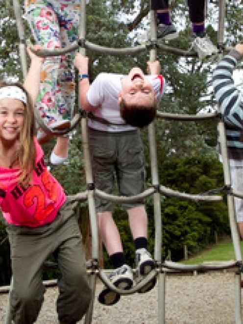 Kauri Park students (from left) Isobelle Masters, 9, Isabella Lundberg, 10, Stella-Rose Pirie...