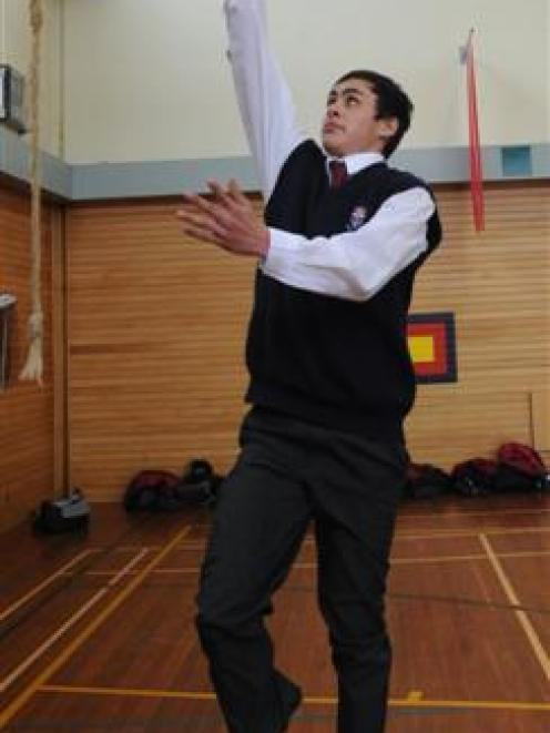 Kavanagh College basketballer Richard Rodger shows his style at the school gym yesterday. Photo...
