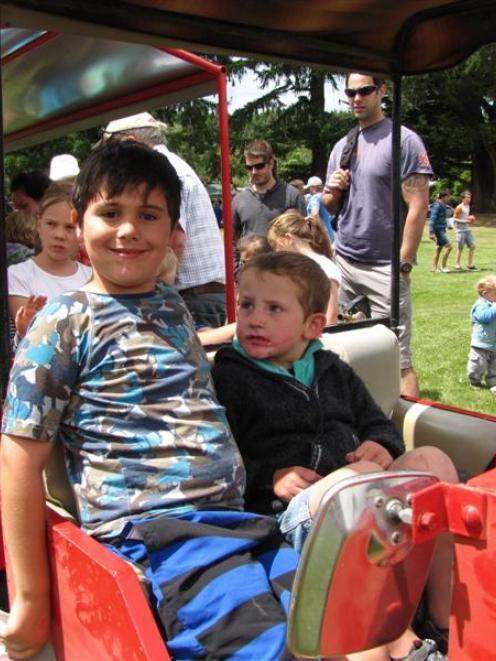 Keiron Rotarangi (left, 7), of Dunedin, and Ryan Crossan (4), of Ranfurly, ride the miniature...
